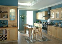 birch kitchen blue wall