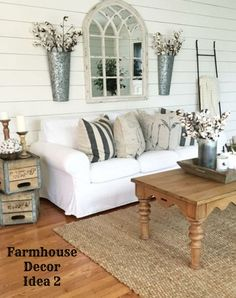 Farmhouse living room decorating idea - love the white couch and shiplap walls - Clutter-free Farmhouse Decor Ideas #farmhousedecorating #rusticfarmhouse #diydecor #homedecorideas #diyhomedecor #farmhousestyle #farmhousedecorideas #decoratingideas #kitchenideas #livingroomideas #bedroomideas #bathroomideas #laundryroomideas