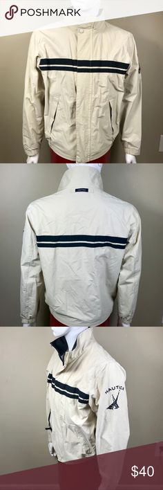 Nautica Lightweight Rain Jacket Men's Nautica Sailing rain jacket in 135 Oat, with navy blue trim. Exterior has zip up pockets as well as a Nautica Sailing logo on the sleeve and a zipper/ button closure. Interior includes 1 hidden pocket. Size MEDIUM Nautica Jackets & Coats Windbreakers