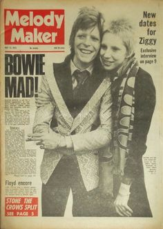 The Ziggy Years- David and Angie, Melody Maker cover. Mick Ronson, Bowie Starman, The Thin White Duke, Major Tom, Ziggy Stardust, Rock Legends, Light Of My Life, David Bowie, Angie Bowie