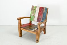 """Cahaya Kano Lounger 06   Constructed from retired fishing boat wood   W33.25"""" x D32.5"""" x H34.5"""" #reclaimed #boatwood #lounger #outdoorfurniture #rustic"""