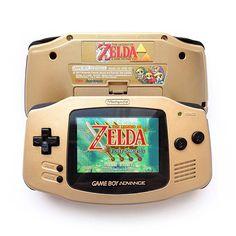Nintendo juego Boy Advance GBA retroiluminada AGB-101 mod oro Zelda consola personalizada caja