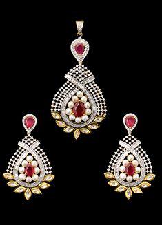 Vilandi pendant set with american diamonds and ruby stones