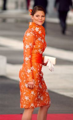 Pin for Later: 44 Reasons Victoria, Crown Princess of Sweden Is the Royal Glamazon You Need to Follow No Shade of Orange Is Too Bright or Bold For Her