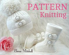 Knitting PATTERN Baby Shoes Baby Booties Baby Hat Baby Beanie Baby Set Pompom Baby Uggs Baby Girl Pattern ( PDF file ) Instant Download