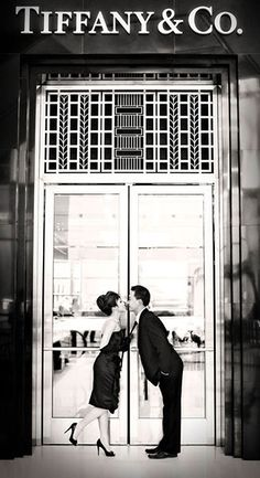 What's more perfect for a bride-to-be named Tiffany than a Breakfast at Tiffany's-inspired engagement shoot? Tiffany perfectly channeled Holly Golightly's classic, elegant style for her and Ossum's gorgeous engagement photos.