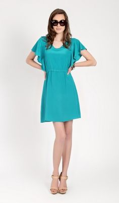 I have this dress in navy silk and it is such an easy, versatile piece to own. Pop of color!  This Natalie Emerald Dress from Amour Vert. Made of Peace Silk.
