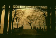 The frozen lake as seen from the Summer Palace. Stuart Franklin, Summer Palace, Magnum Photos, Vintage China, Beijing, Frozen, Celestial, Colour, Sunset