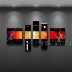 Huge Modern Abstract Painting Oil Painting On Canvas Panels Gallery Stretched Abstract. This 5 panels canvas wall art is hand painted by A.Qiang, instock - $145. To see more, visit OilPaintingShops.com