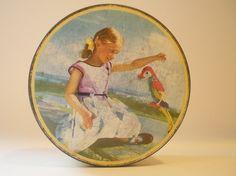 English Tin Box  Collectible Toffee Tin Vintage by vintagebiffann, $9.00