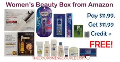FREE Amazon Women's Beauty Box! Get 100% of your purchase back in Amazon Credit! Lot of great stuff included!  Click the link below to get all of the details ► http://www.thecouponingcouple.com/amazon-womens-beauty-sample-boxes-free-after-amazon-credit/ #Coupons #Couponing #CouponCommunity  Visit us at http://www.thecouponingcouple.com for more great posts!