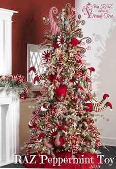 Check Out 23 Whimsical Christmas Decorating Ideas To Try This Year. whimsical Christmas decor, you won't want to live without these bright Christmas decorations. Elf Christmas Tree, Whimsical Christmas Trees, Creative Christmas Trees, Beautiful Christmas Trees, Holiday Tree, Christmas Home, Christmas Crafts, Peppermint Christmas Decorations, Christmas Ideas