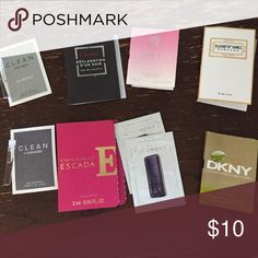 """Bundle of Perfume Samples Includes 2 """"Clean"""", 1 Cartier """"declaration d'un soir"""", 1 especially escada, 2 givency, 1 Versace """"bright crystal"""", 1 Elizabeth & James """"nirvana"""" and 1 dkny """"be delicious intense"""". Price is for all.  Prices on items $20 and under are non-negotiable. Makeup"""