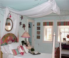 An enchanting bedroom for a princess...love the playful heart decor, and the Silhouette® window shades as well.  ♦ Hunter Douglas window treatments
