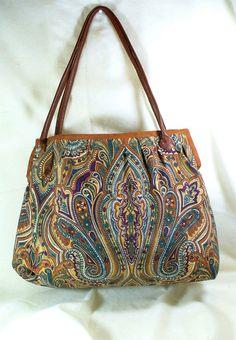 Exotic Brown Tone Tote faux carpet bag shoulder bag by LadyAstarte