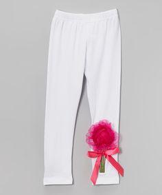 Look at this #zulilyfind! White Organdy Flower Leggings - Infant, Toddler & Girls by Wenchoice #zulilyfinds