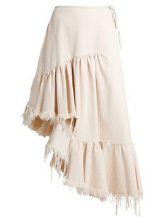 Click here to buy Marques'Almeida Ruffle-panelled asymmetric denim midi skirt at MATCHESFASHION.COM