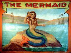 Vintage Mermaid Art | vintage carnival sideshow mermaid banner see the mermaid vintage sea