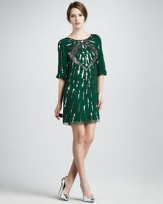 I WANT THIS SO BAD- Sequined Bateau Cocktail Dress by Mark + James by Badgley Mischka at Neiman Marcus.
