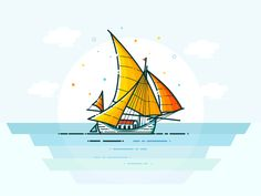 Sailing Boat by Zahidul Islam  #Design Popular #Dribbble #shots