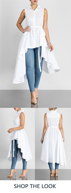 This long-and-short sleeveless white shirt is stylish and edgy yet super easy to throw on over a pair of jeans. We love the irregular hemline and classic shirt collar. #shirts #top #dress #backtoschool #womenswear