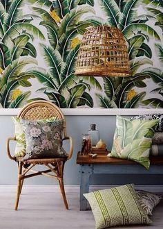 Poser un papier peint tropical sur les murs
