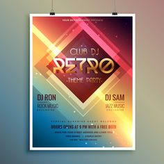 retro club theme party flyer template