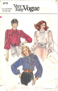 Very loose-fitting, pullover blouse has collar variations, buttoned shoulder closing and three-quarter or full length sleeves with buttoned cuffs. Narrow hem. Purchased belt. Our PRE-OWNED patterns ar