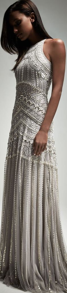 Naeem Khan Sleeveless Metallic-Embellished Gown, Gray/Silver