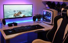 I like the ultrawide monitor mounted on the wall.