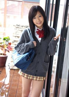 Classic seifuku 2 – this time with the tartan skirt + classic school bag + grey cardigan.