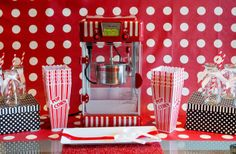 Popcorn Bar Complete with Popcorn Cups and Soda Bottles.