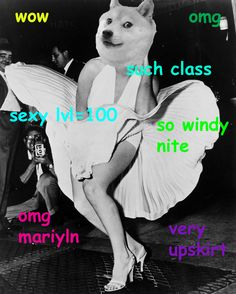 Marilyn Monroe 14 Iconic Pieces Of History Made More Wow With Doge Old Memes, Dankest Memes, Funny Memes, Hilarious, Marilyn Monroe, Doge Meme, Dog Jokes, Silly Dogs, Funny Dogs