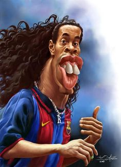 """CARICATURAS DE FAMOSOS: """"Ronaldinho"""" por Amir Taqi"""