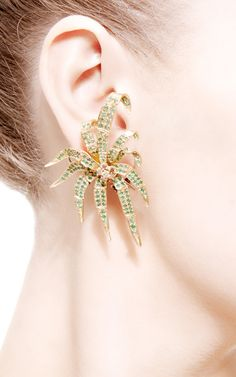 Palm Earrings With Charm Links by Royal Asscher for Preorder on Moda Operandi
