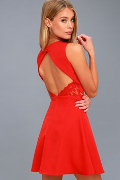 d5a39c1a2a Flirt and Flair Red Backless Skater Dress 2 Red Bodycon Dress