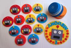 Fondant Cake Cupcake Toppers  Robot Deluxe Party by CakesAndKids, $54.95