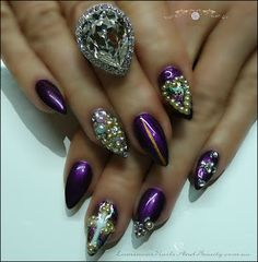 Luminous Nails: Violet Gel Nails with Diamonds & Pearls...