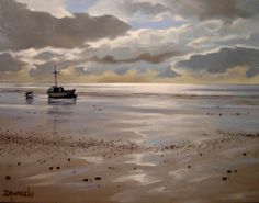 Low Tide at Snettisham. Oil on canvas 30X41cm