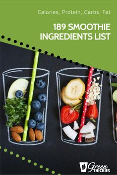 This incredibly useful smoothie ingredient list helps you plan the calories, protein, carbs, and fat in your smoothies. Print this out as you'll use it daily. Smoothie Recipe Book, Smoothie Prep, Fruit Smoothie Recipes, Smoothie Ingredients, Make Ahead Smoothies, Good Smoothies, Raw Vegan Smoothie, Protein Fruit, Raw Food Diet