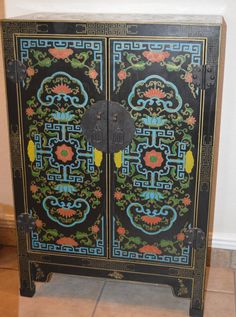 Vintage Chinese Cabinet Wood Black Lacquer Carved by KAGUMISE, $400.00