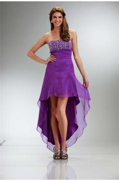 Strapless Empire Waist High Low Purple Chiffon Party Prom Dress