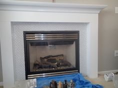 Image result for fireplace with wood surround Tile Around Fireplace, Fireplace Tile Surround, Wood Fireplace, Fireplace Surrounds, Fireplace Mantels, Fireplace Ideas, Coffee Table Plans, Penny Tile, Home Decor Inspiration