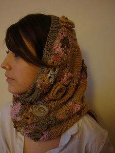 freeform snood  knit and crochet