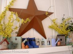 I never thought to bring in beautiful forsythia branches for spring decor! @HoosierHomemade