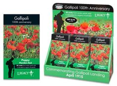 Mr Fothergill's special seed pack commemorating Gallipoli Landing April 1915. A great point of sale display item for all nursery retailers.  This is the 100th Year Anniversary, with 50 cents of every pack sold is donated to legacy Australia.