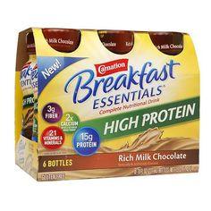 protein shake to gain muscle Carnation Breakfast Essentials Complete Nutritional Drink, Bottles Rich Milk Chocolate, 6 pk - 8 oz. Nutrition Drinks, Healthy Nutrition, Healthy Drinks, Healthy Snacks, Healthy Recipes, Healthy Breakfasts, Nutrition Tips, Strawberry Nutrition, Milk Nutrition