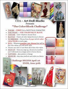 "CDA- Art Doll Studio 2Q 2014 ""The Color Block Doll Challenge"""