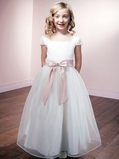 Pretty Short Sleeves Square Neckline Puff Flower Girl Dress (FD-045)