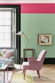 De verfkleuren Pea Green 91, Leather 191, Obsidian Green 216, Slaked Lime 105 van LITTLE GREENE. www.littlegreene.nl | verf | paint | matte verf | interieur | interior | wonen | living | styling | muurdecoratie | wall decoration | woonkamer | living room |